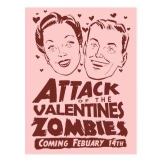 Attack of the Valentines Zombies Postcard