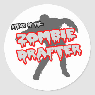 Attack of the Zombie Drafter Classic Round Sticker