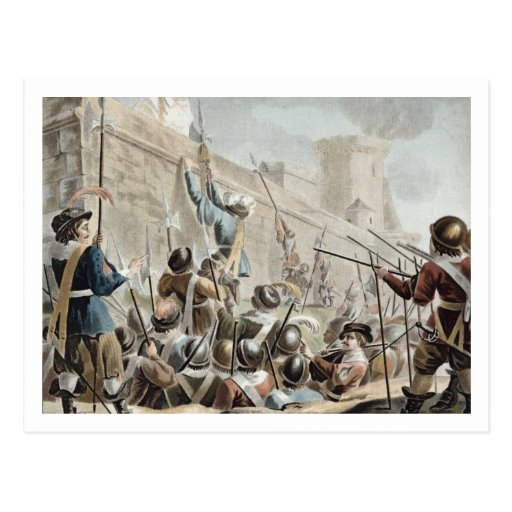 Attack on Boulogne-Sur-Mer, engraved by Jean Bapti Postcard