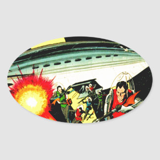 Attack on Planet Mars Oval Sticker