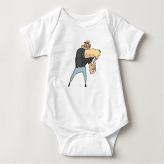 Attacking Dangerous Criminal Outlined Comics Style Baby Bodysuit