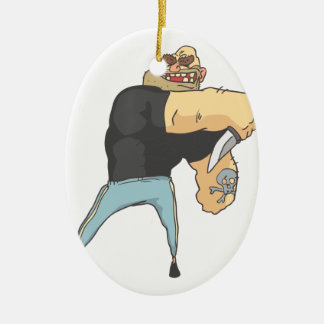Attacking Dangerous Criminal Outlined Comics Style Ceramic Ornament