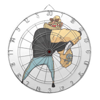 Attacking Dangerous Criminal Outlined Comics Style Dartboard