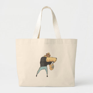 Attacking Dangerous Criminal Outlined Comics Style Large Tote Bag