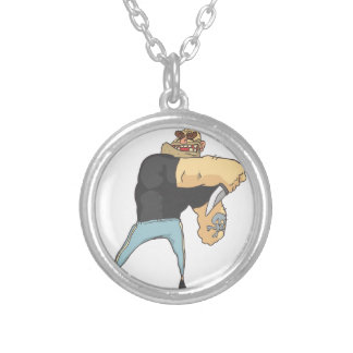 Attacking Dangerous Criminal Outlined Comics Style Silver Plated Necklace