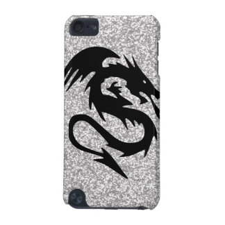 Attacking Dragon Silhouette on Silver iPod Touch 5G Case