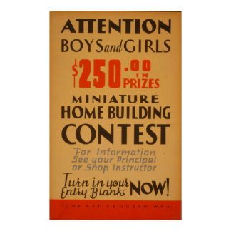 Attention Boys And Girls Contest WPA Vintage Poster