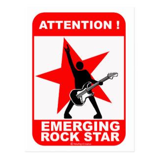Attention! emerging rock star! postcard