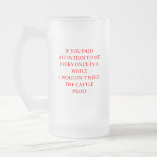 ATTENTION FROSTED GLASS BEER MUG