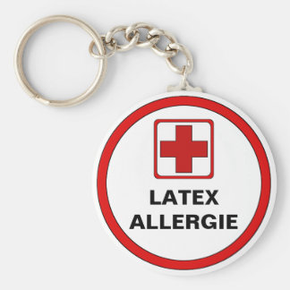 Attention - Latex allergy Basic Round Button Keychain