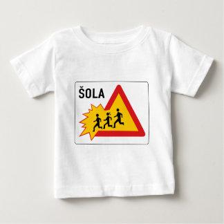 Attention School, Traffic Sign, Slovenia Baby T-Shirt
