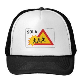 Attention School, Traffic Sign, Slovenia Trucker Hat