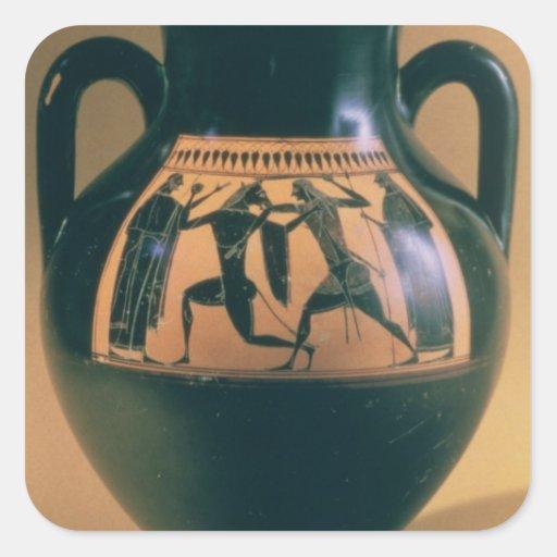 Attic black figure amphora depicting Theseus and t Square Stickers