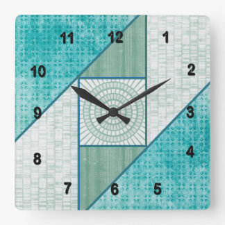 Attic Window Mint Green & Turquoise Square Wall Clock