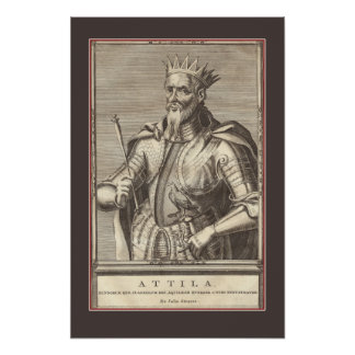 Attila The Hun, Scourge of God with Border Poster