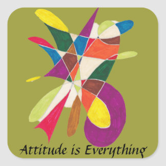 Attitude is Everything-Abstract Pencil Sketch Square Sticker