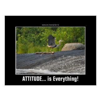 ATTITUDE IS EVERYTHING Great Blue Heron & Falls Poster