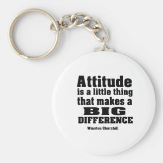 Attitude makes a big difference basic round button keychain
