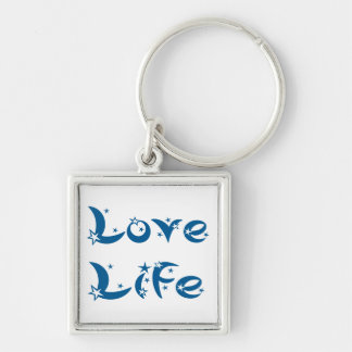 Attitude Motivational Love Life Quote Blue Stars Keychain