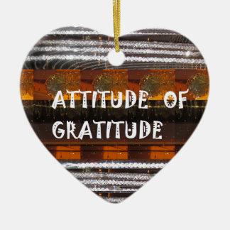 ATTITUDE of Gratitude  Text Wisdom Words Ceramic Heart Ornament