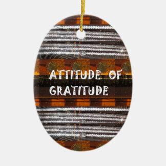 ATTITUDE of Gratitude  Text Wisdom Words Ceramic Oval Ornament