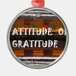ATTITUDE of Gratitude  Text Wisdom Words Silver-Colored Round Ornament