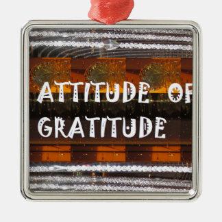ATTITUDE of Gratitude  Text Wisdom Words Silver-Colored Square Ornament