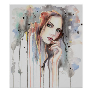 Attitude Watercolor Abstract Portrait Drippy Art Poster