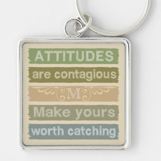 ATTITUDES custom monogram motivational key chains