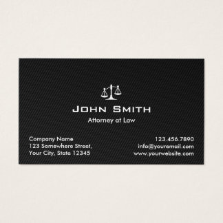 Attorney at Law Black Carbon Fiber Lawyer Business Card