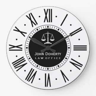 Attorney At Law   Classic Black & White Large Clock