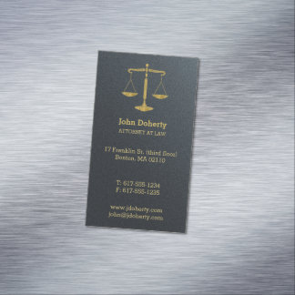 Attorney at Law | Classic Golden Scales of Justice Business Card Magnet