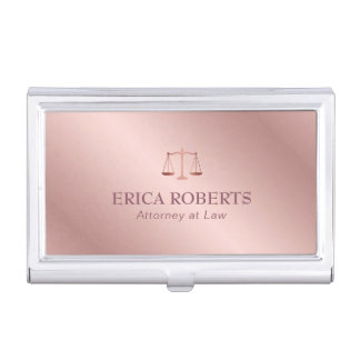 Attorney at Law Elegant Foil Rose Gold Lawyer Business Card Holder