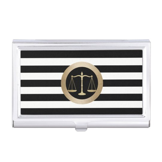 Attorney at Law Gold Scale Modern Stripes Lawyer Business Card Holders