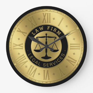 Attorney at Law | Golden Scales of Justice Large Clock