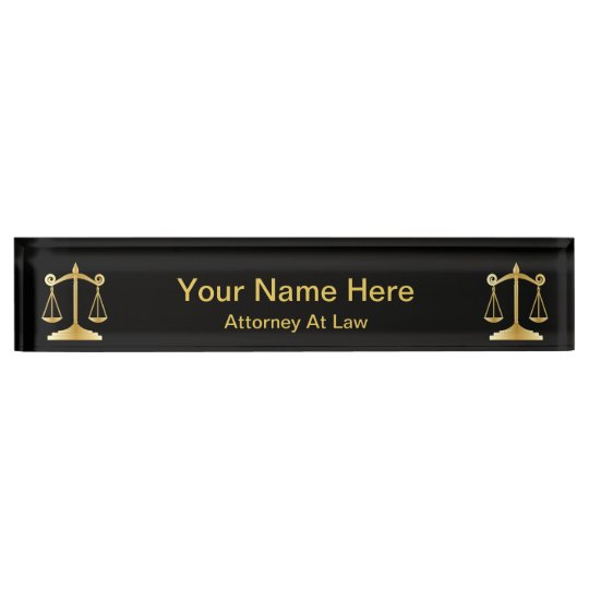 Attorney at Law   Lawyer - Black and Gold Name Plate