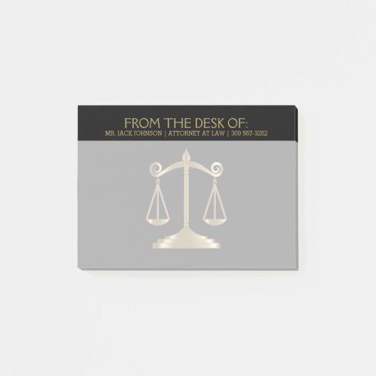 Attorney at Law - Lawyer - Black and Gold Post-it Notes