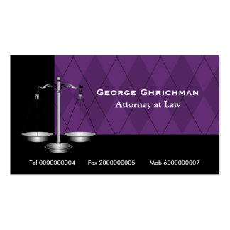 Attorney at law scale of justice black purple business card