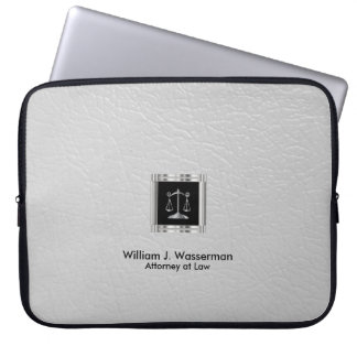 Attorney at Law White Leather Laptop Sleeve