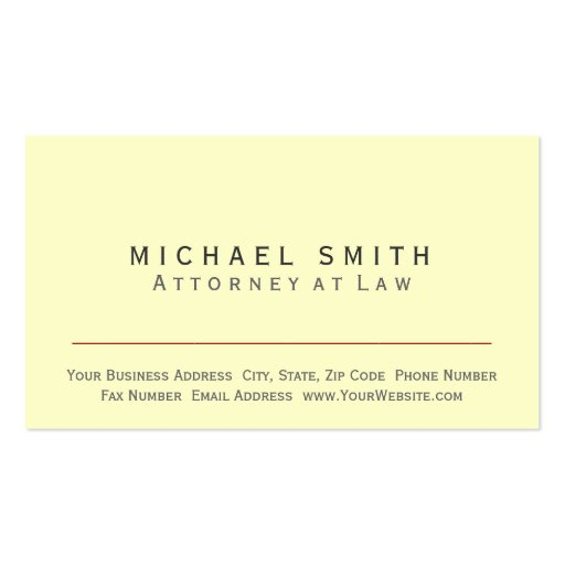 Attorney at Law - Yellow Minimal Business Card