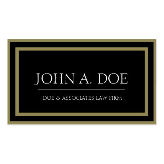 Attorney Black/Antique Gold Border Galore Business Card Template
