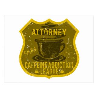 Attorney Caffeine Addiction League Postcard