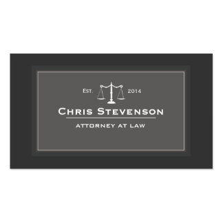 Attorney Justice Scale Traditional Black and White Business Card