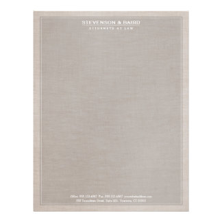 Attorney Law Office Linen Texture Look Classic Letterhead