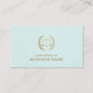 Mint business cards profile cards zazzle ca attorney lawyer gold scale of justice mint linen business card reheart Image collections