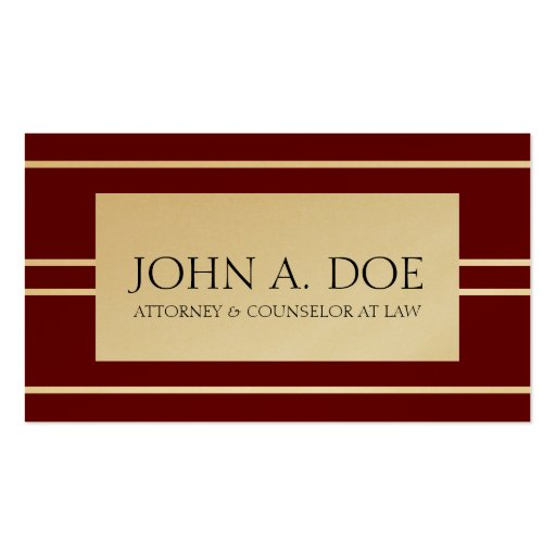 Attorney Lawyer Law Firm Cherry Gold White Stripes Business Card Templates