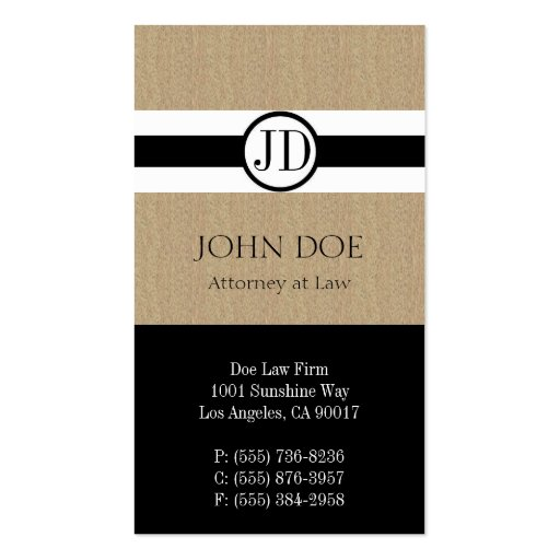 Attorney Lawyer Law Firm Pendant Tan Black Business Card Template