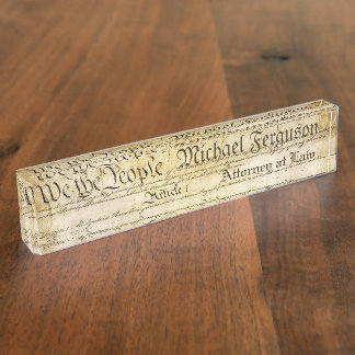 Attorney United States Constitution Desk Name Plates