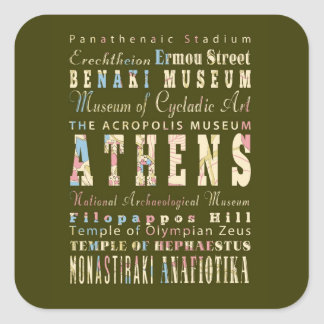 Attractions & Famous Places Athens, Greece Square Sticker