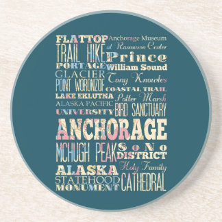 Attractions & Famous Places of Anchorage, Alaska. Beverage Coasters